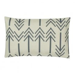 Rectangular outdoor linen cushion with grey arrows design