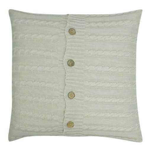 Square Beige Cable Knit Cushion Cover 50cm x 50cm With Buttons
