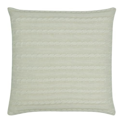 Back Image of Square Beige Cable Knit Cushion Cover 50cm x 50cm With Buttons