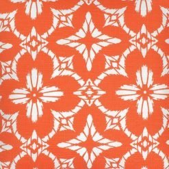 Close up of floral orange color outdoor cushion cover