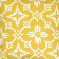 Close up of floral yellow and white outdoor cushion cover