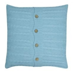 Square Blue Cable Knit Cushion Cover 50cm x 50cm WIth Buttons