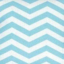 Close up of 45x45cm cotton linen cushion chevron design light blue and white colours