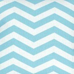 Close up of 45x45cm cotton linen cushion chevron design light blue and white colours