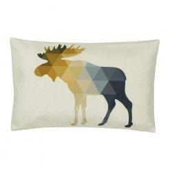 Rectangular linen cushion cover with moose design