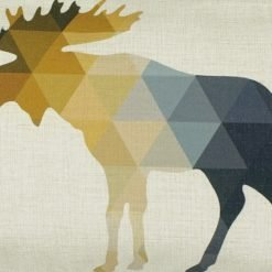 Close up of outdoor linen cushion with moose design