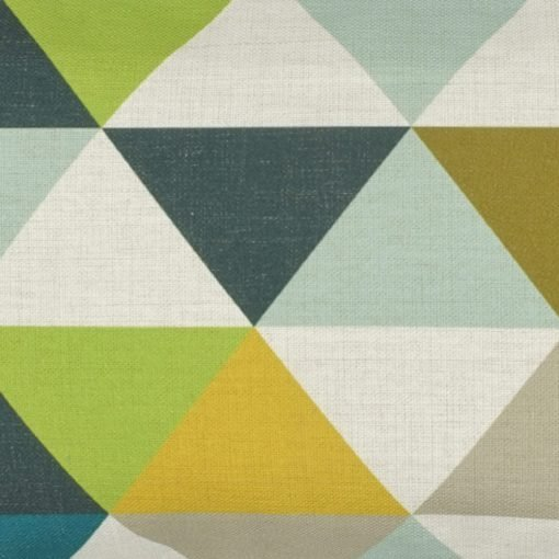 Close up of rectangular linen outdoor cushion with vintage colours