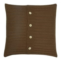 Square Chocolate Cable Knit Cushion Cover 50cm x 50cm With Buttons