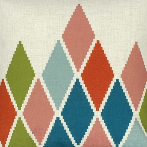 Closeup Image of Square Cushion Cover 45x45cm With Multi Colour Diamond Pattern