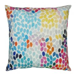 Square velvet cushion with rainbow colour leaves