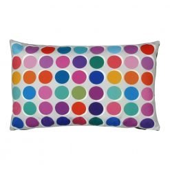 Rectangular colourful polka dot outdoor velvet cushion