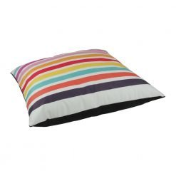 Large 70x70cm colourful floor velvet cushion cover with stripe design