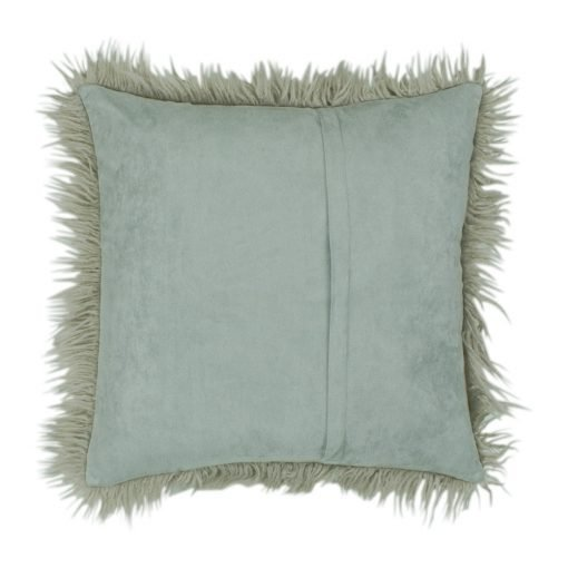 Back of 45cm x 45cm Ecru Square Fur Cushion Cover With Zipper