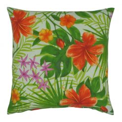 Garden inspired outdoor cushion with green and orange colours