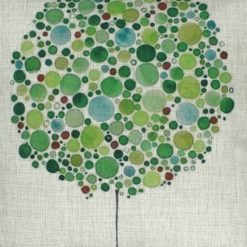 Closeup Image of a Square Green Bubble Tree Cushion Cover 45x45cm