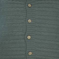 Closeup Image of Grey Cable Knit Cushion Cover 50cm x 50cm With Buttons