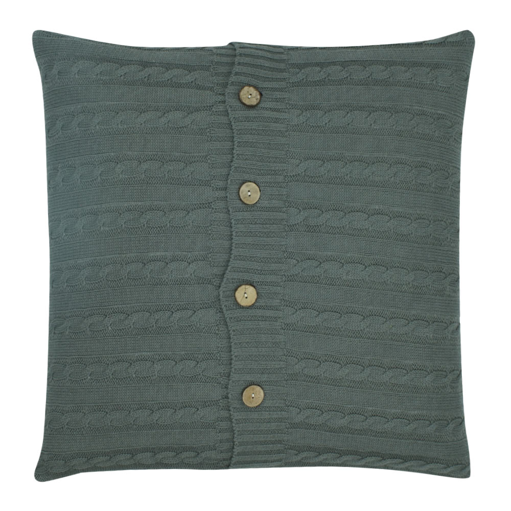 Grey Cable Knit Cushion Cover 50cm x 50cm With Buttons