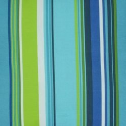 Close up of outdoor cushion cover with blue and green stripes