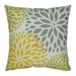 Grey and yellow square velvet cushion with floral pattern