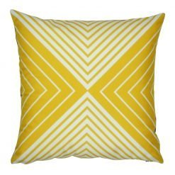 45x45cm velvet cushion with yellow and white triangles