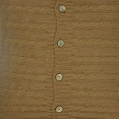 CLoseup Image of Light Brown Cable Knit Cushion Cover 50cm x 50cm WIth Buttons