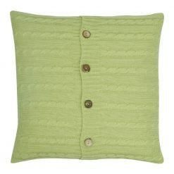 Square Light Green Cable Knit Cushion Cover 50cm x 50cm WIth Buttons