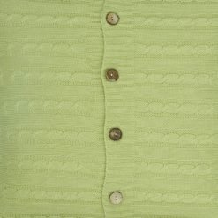 Closeup Image of Square Light Green Cable Knit Cushion Cover 50cm x 50cm WIth Buttons