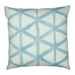 Square velvet cushion with light blue and white triangles pattern
