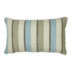 Rectangular cotton linen cushion with pastel blue stripe print