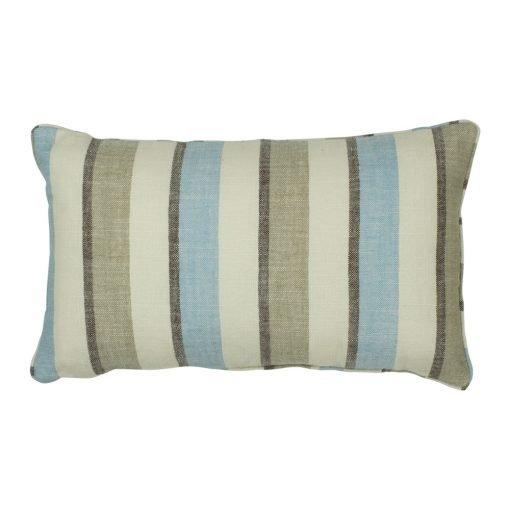 Rectangular cotton linen cushion with pastel blue stripe print