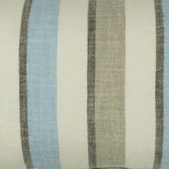 Close up of blue ecru stripe rectangular cotton linen cushion