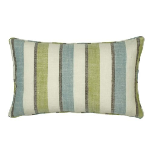 30x50cm rectangular cotton linen cushion with denim and lime stripes