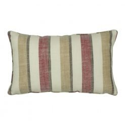 30x50cm maroon and beige cotton linen cushion cover in stripe pattern
