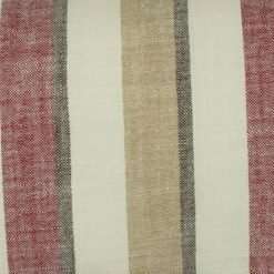 Close up of striped maroon and ecru cotton linen cushion cover