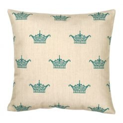 Square Cushion Cover 45x45cm With Blue Crown Pattern
