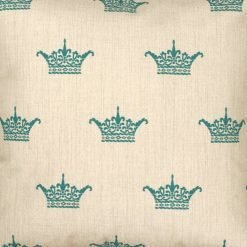 Closeup Image of Square Cushion Cover 45x45cm With Blue Crown Pattern