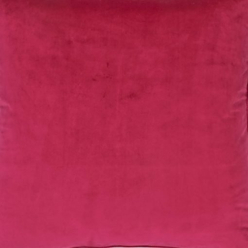 Close up of magenta pink velvet cushion cover