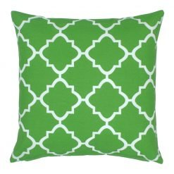 Green and white square outdoor cushion
