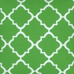 Close up of square green outdoor cushion cover.