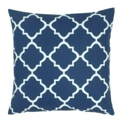 Navy and white square outdoor cushion
