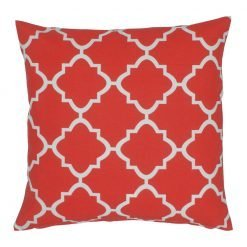 Red and white square outdoor cushion