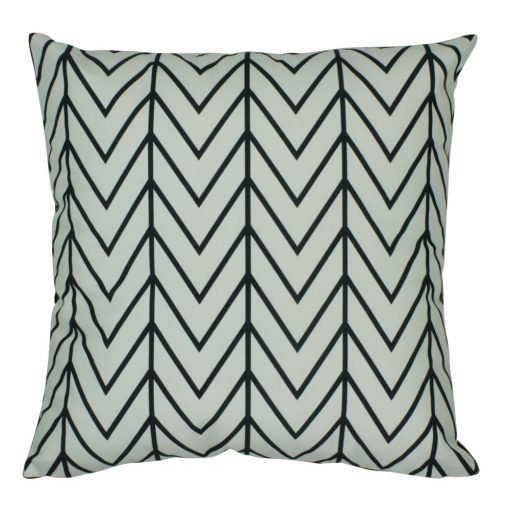 Velvet cushion cover with black stripes and chevron pattern