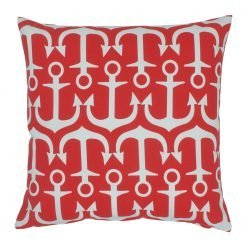 Square cushion with red and white color and anchor design