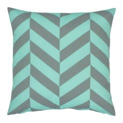 Square cushion cover with teal and grey colours