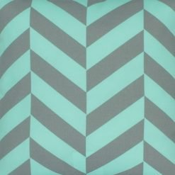 Close up of teal and grey outdoor cushion cover