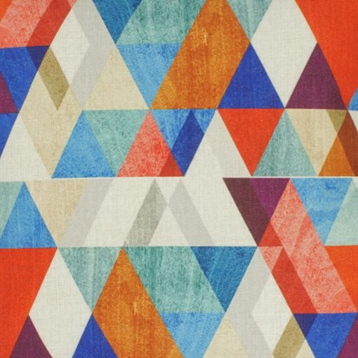 Closeup Image of Multi Colour Triangle Pattern Square Illusions Cushion Cover 45x45cm