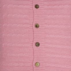 CLoseup Image of Square Pink Cable Knit Cushion Cover 50cm x 50cm With Buttons