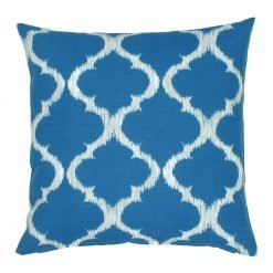 Teal and white square outdoor cushion cover