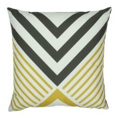 Square velvet cushion with yellow and black triangles pattern
