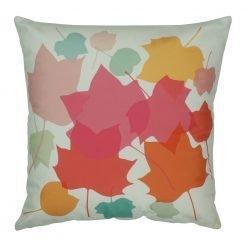 45x45cm velvet cushion cover with pastel leaves